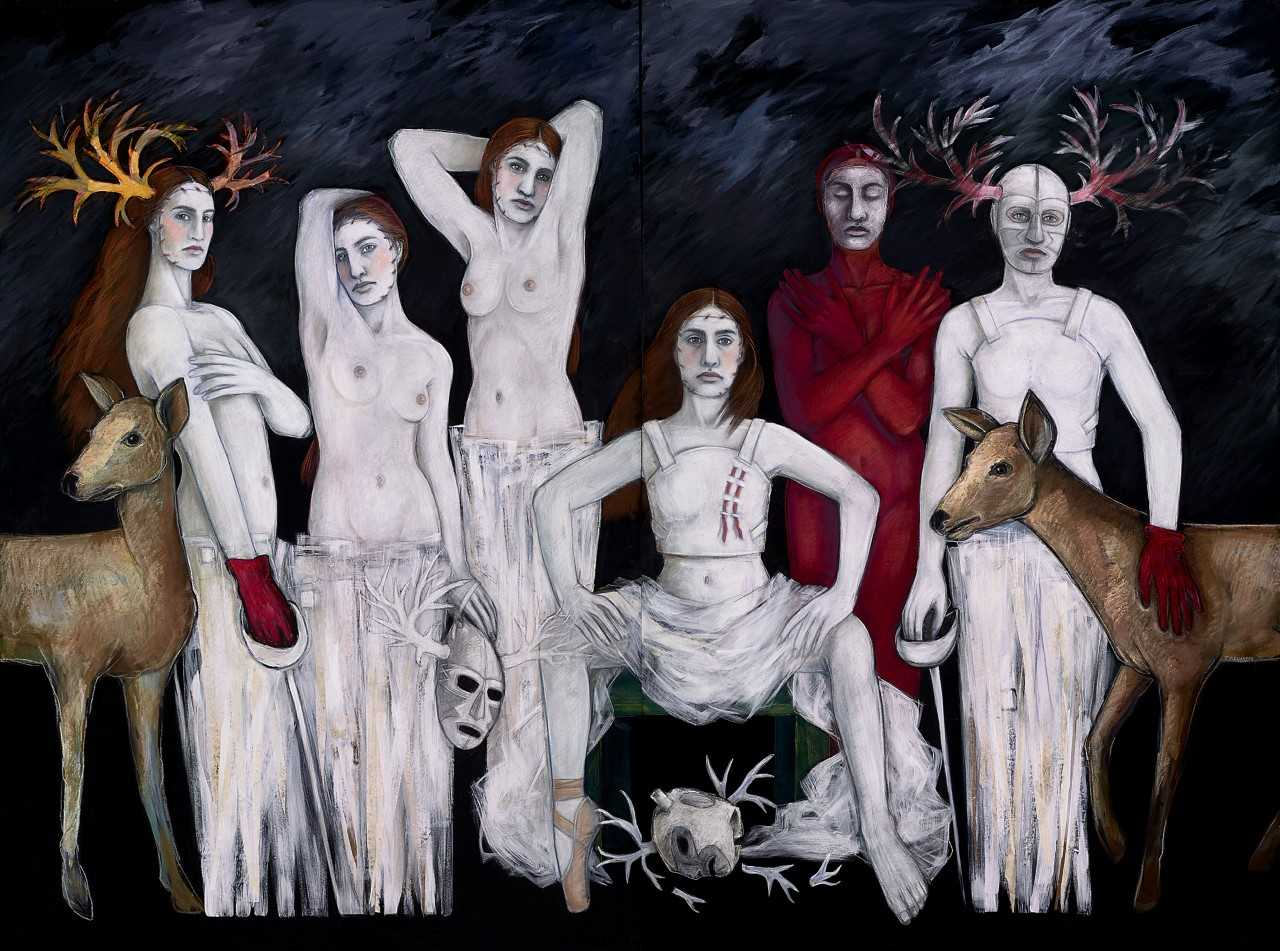 Judithe Hernández (U.S., b. 1948)  Les demoiselles d'barrio / Maidens of the Barrio (The Luchadora Series)  2013. Pastel, mixed-media on canvas. Gift in memory of Mr. and Mrs. Peter C. Hernández