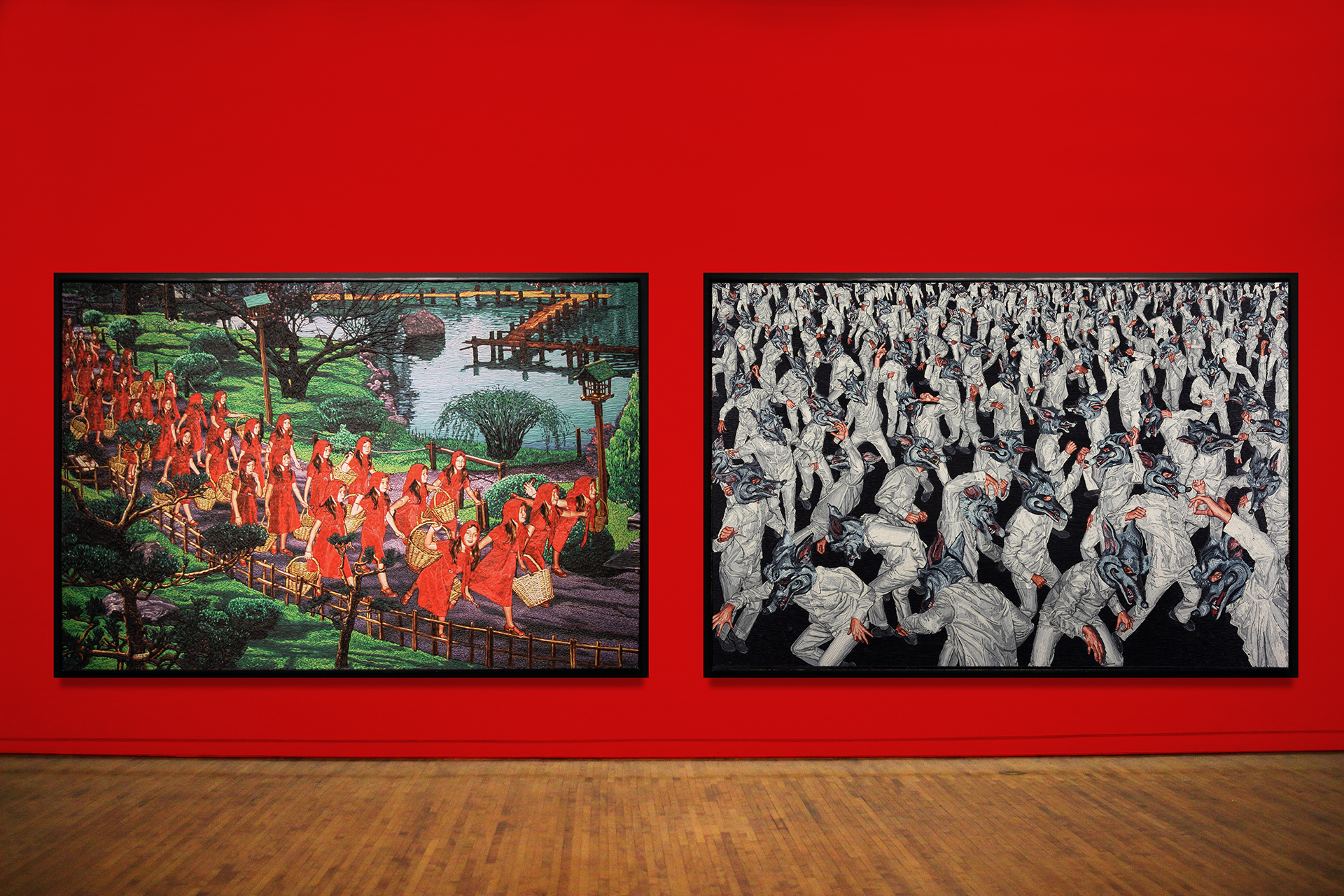 Images L to R:  Mondongo (Argentina)  32 Red riding hoods with empty basket without wolf , 2004. Plasticine on wood panel. 78 3/4 x 118 1/2 in. Courtesy of Track 16 Gallery. Mondongo (Argentina)  Dancing with myself , 2006-2007. Plasticine on wood. 78 3/4 x 118 1/8 in. Courtesy of Track 16 Gallery.