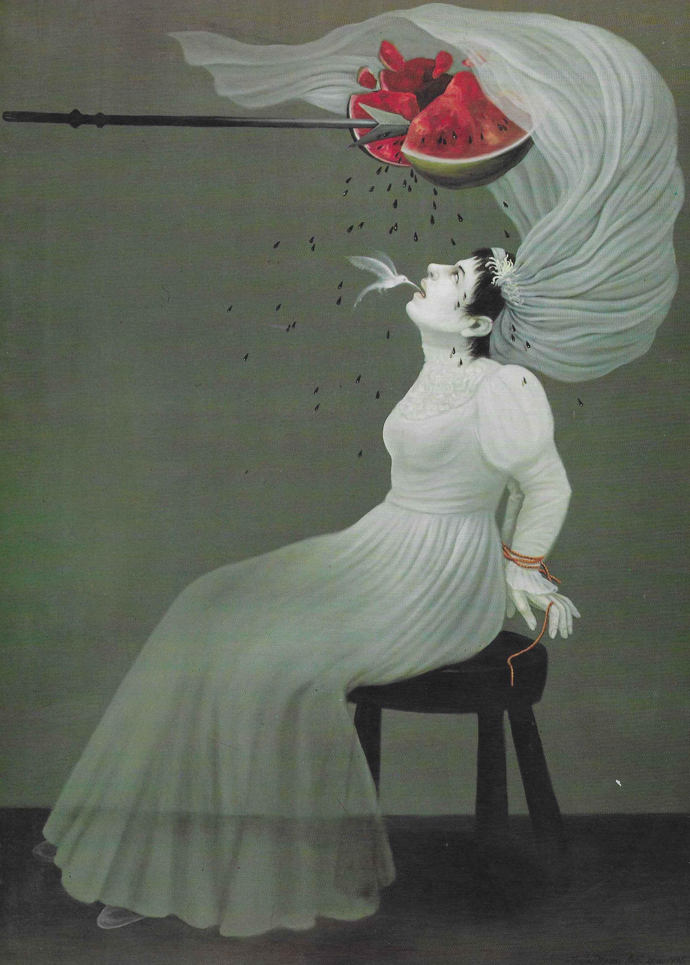 - Lucia Maya (United States, b. 1953)Elíxir del olvido / Elixir of Oblivion, 1995Oil on canvasGift of Ana Iturralde in memory of Jose Maria Iturralde, Sr.M.2017.001Download (JPG)