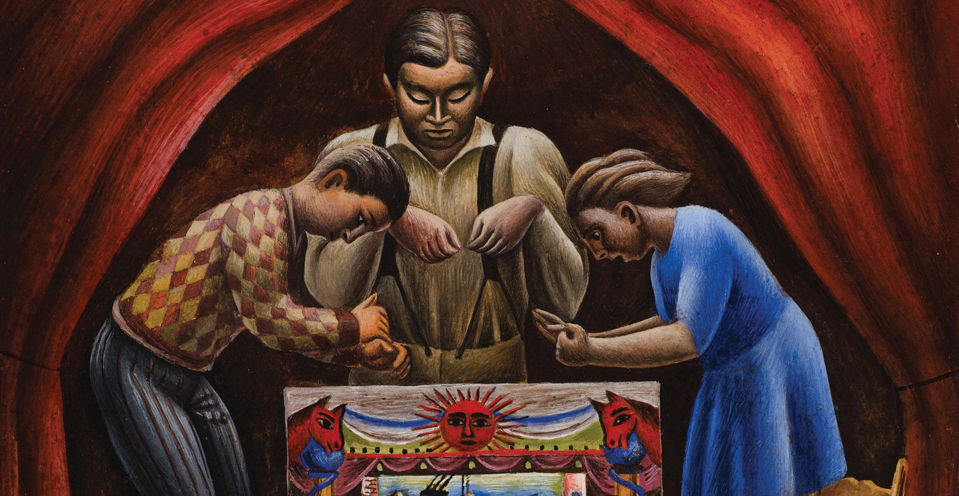 "Antonio Ruíz ""El Corzo"" (Mexico, 1892–1964) Puppet Show , 1933. Tempera on masonite 29 x 21 cm. FEMSA Collection"