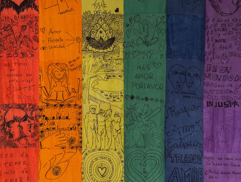 Chiachio & Giannone (Argentina, b. 1969 & 1964),  Pride Flag,  2018. Handmade and dyed patchwork created with recycled fabrics. Courtesy of the artist.