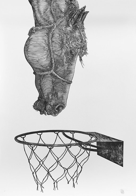 Osmeivy Ortega  (Cuba, b. 1980),  Untitled , 2012, Woodcut print on archival paper, 39 ½ x 27 ½ inches. Courtesy of the artist and Saltfineart
