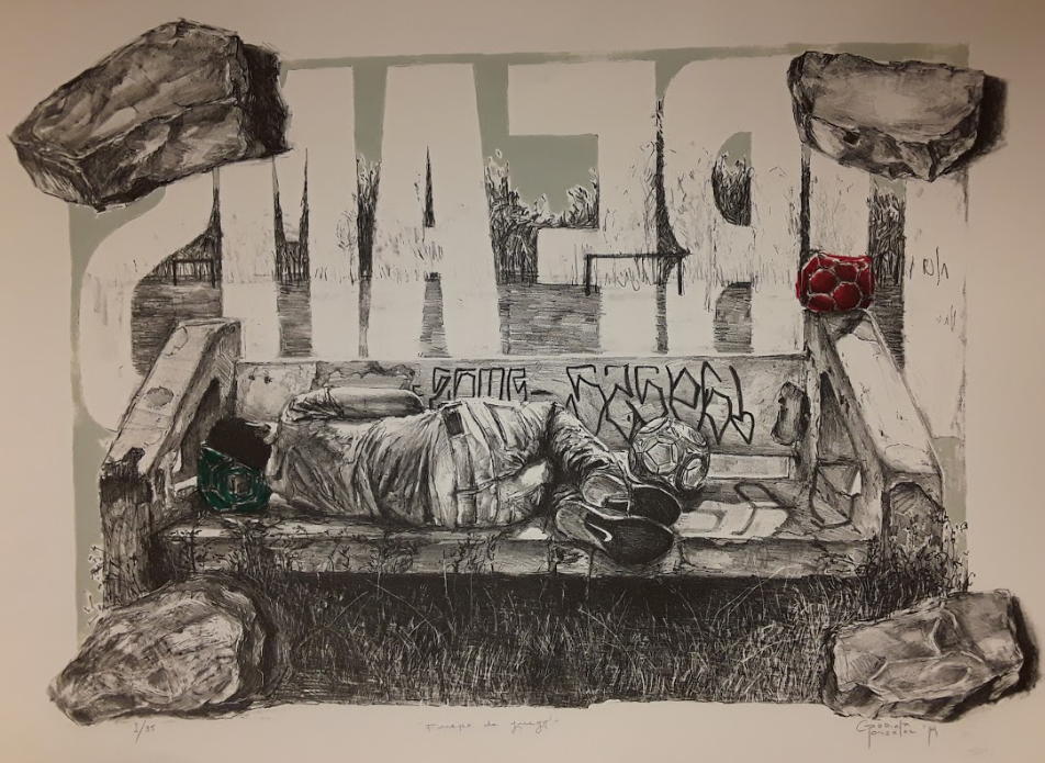 Piedra Negra (Blackstone) Press,  Mexico City, Mexico  Offside,  2019, Lithograph, Prismacolor and acrylic on paper, 22 7/16 x 29 1/2 inches, Courtesy of the Artist
