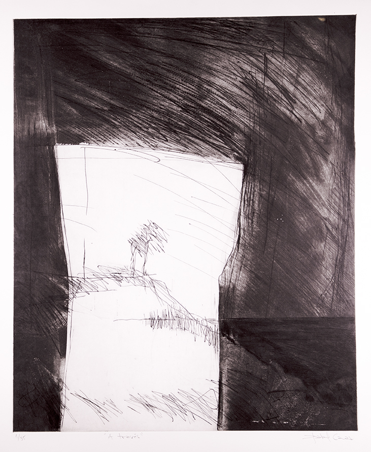 Taller 99,  Santiago, Chile  Across , 2018, Drypoint, aquatint, and etching, 30 x 22 inches, Courtesy of the artist