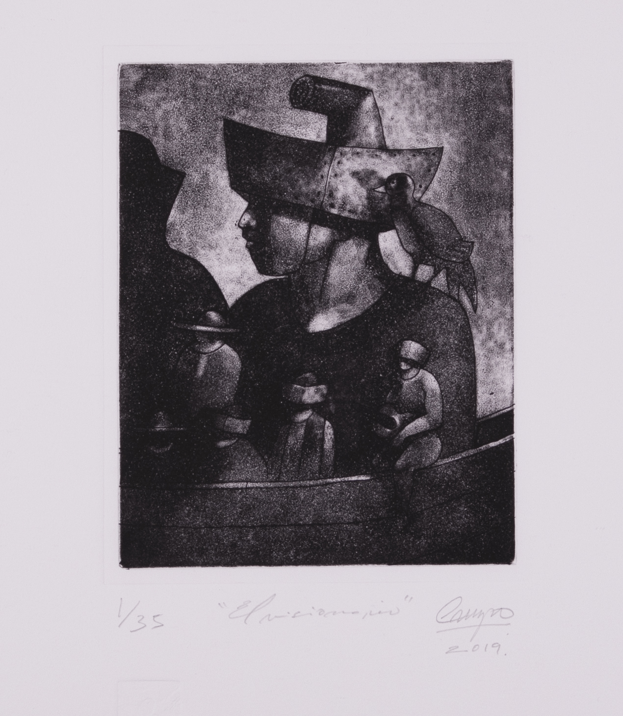 Taller de Estampa Bastidor Solitario,  San Jose, Costa Rica  The Visionary , 2019, Mezzotint and etching, 30 x 22 inches, Courtesy of the artist