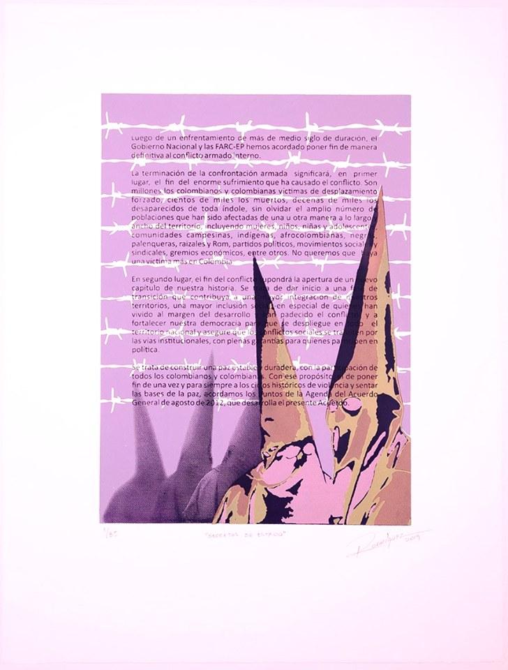 Taller de Gráfica La Huella ,  Piedecuesta, Colombia  State Secrets , 2019, Serigraph, , 30 x 22 inches, Courtesy of the artist