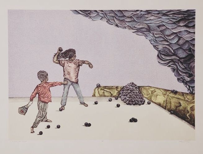 Printshop at the University of Texas at San Antonio,  San Antonio, Texas, US  La carambola está cañón  from the series  Playing at War , 2019, Lithograph and Serigraph, 22 inches x 30 inches, Courtesy of the artist