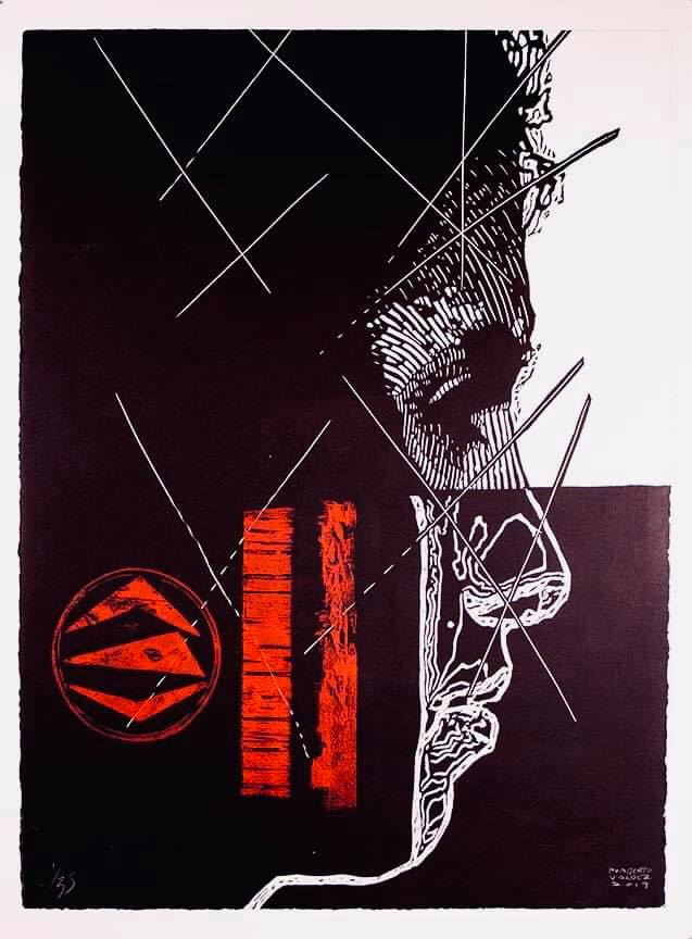 Taller la Imagen del Rinoceronte , Mexico City, Mexico  Contrast , 2019, Linocut and collograph made with linoleum, wood, and upcycled materials, 22 x 30 inches, Courtesy of the artist