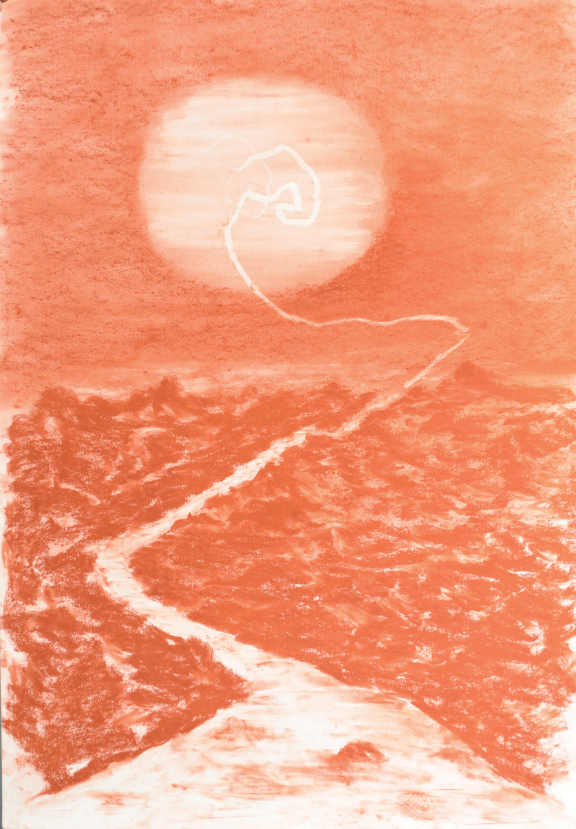 Matías Duville  (Argentina, b. 1974)  Red Sunset,  2018, Sanguine on paper, 39 1/8 x 27 1/5 in. Gift of Florence Drake del Castillo through the Corpate Acquistions Programe arteBA