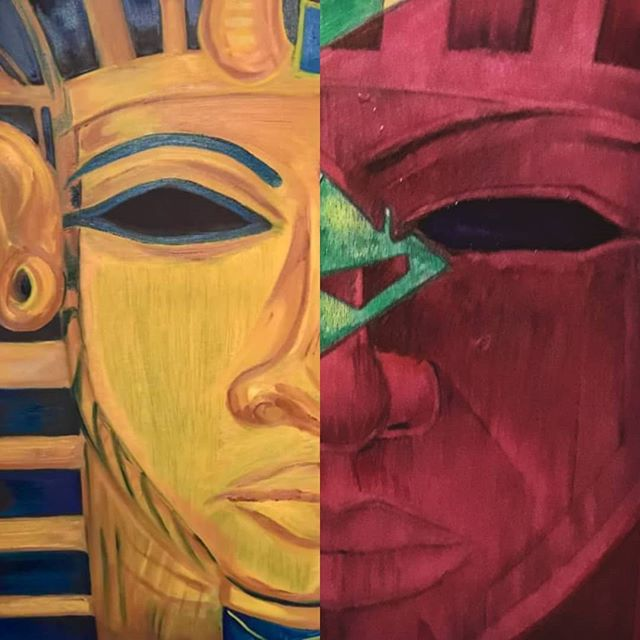 Golden Blue & Yellow Warriors,  Crimson Emerald Cut Mars Men  www.visualistdesign.com  #Visualistart #iLL #artwork #art #ancient #pharaoh #blue #yellows #goldface #tut #ra #faceofpharaohs #mars #marsred #emeralds #warriors #Visualist #depictions #cosmicpharaohs #visualistdesign