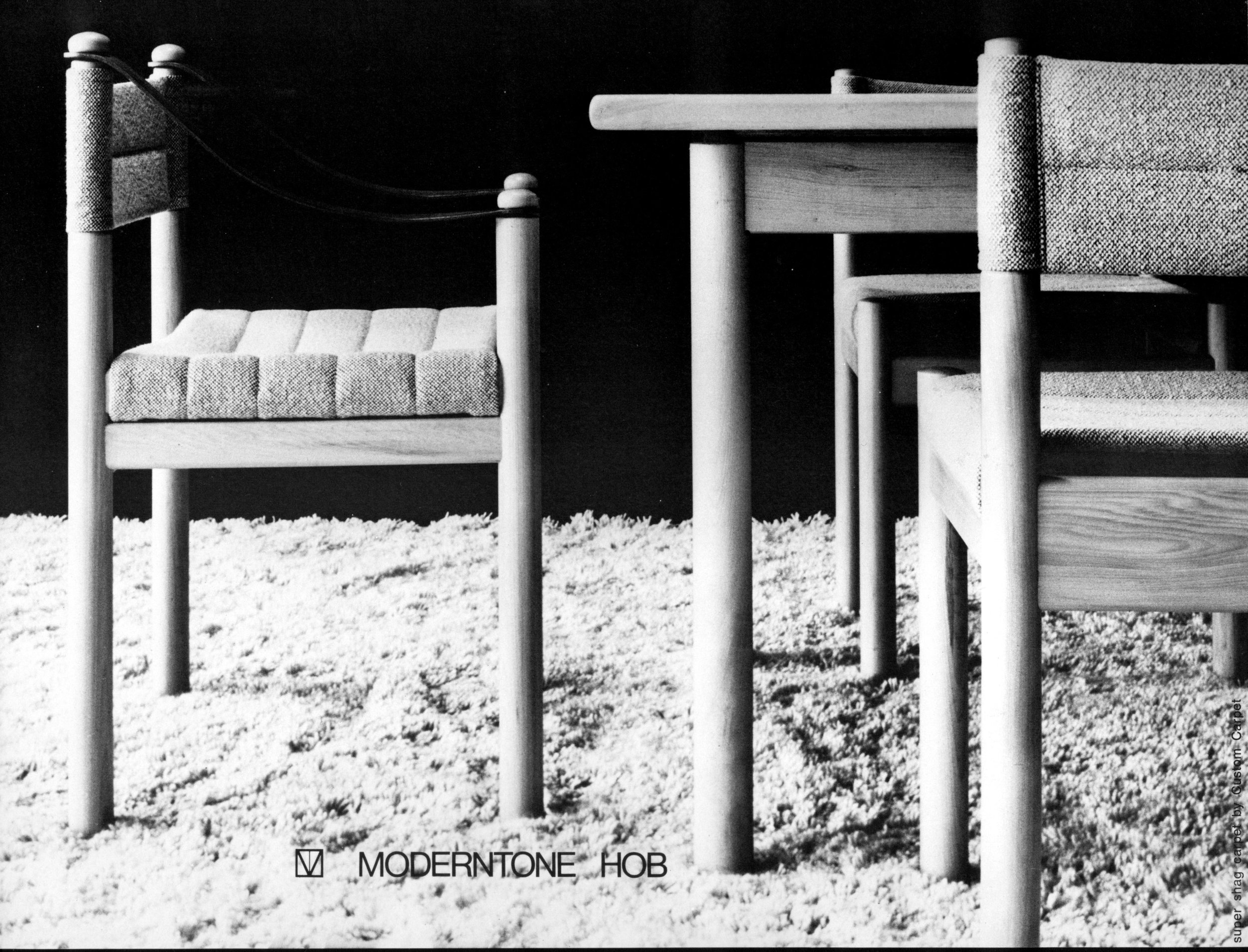Hob dining chairs and table, 1972