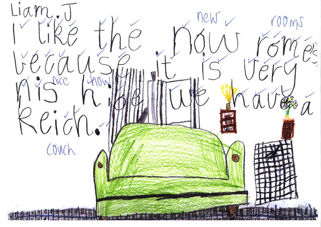 Child's drawing of new settee