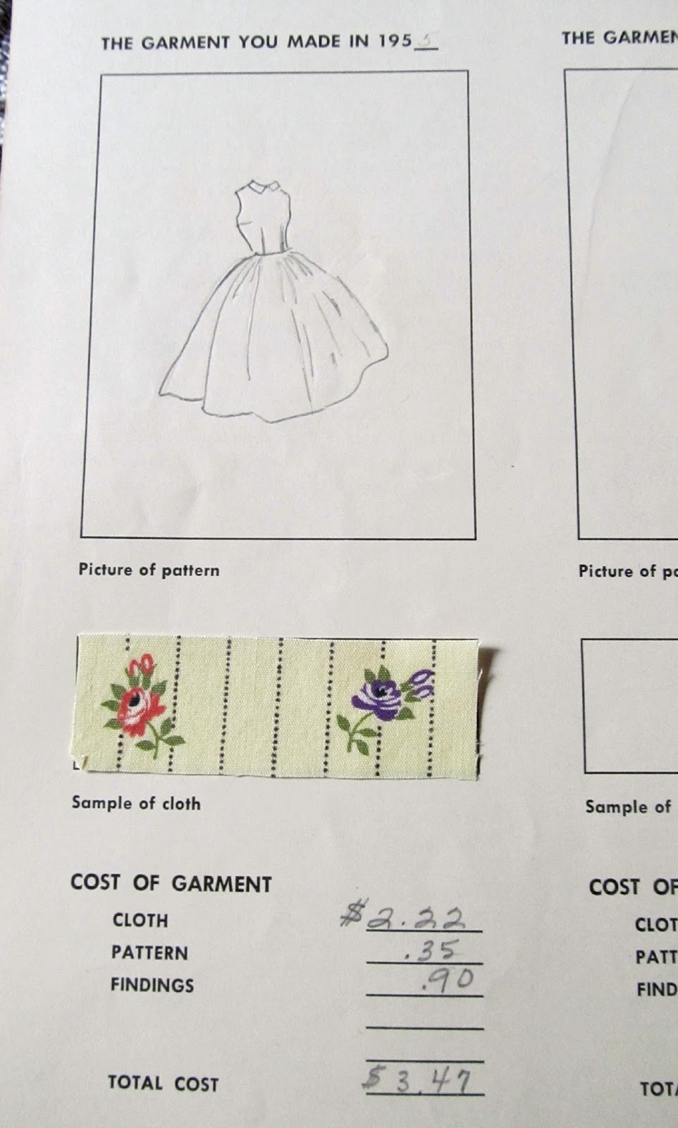 This is a page from my 1955 4-H project book. This is why we sewed back then; it was cheaper than buying ready made clothes as well as they fit better. Even though it only cost me $3.47 to make that dress, my babysitting pay was 50 cents an hour so that took me 7 hours of work to earn the money. There was a page to list how many extra garments we had made that year and I made 15 extra ones. I had only learned to sew one year earlier. I spent most of my babysitting money on fabric.