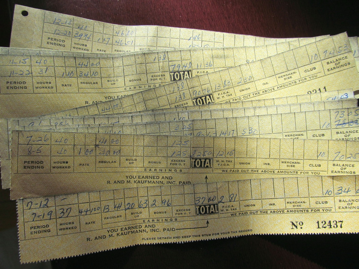 I spent a few hours yesterday afternoon going through a hall closet. In one box were the paycheck stubs from my first job in 1958. I sewed for a designer at a dress factory. I started out at $1 and hour and worked up to $1.17 before I left for a higher paying job that I hated in an office.