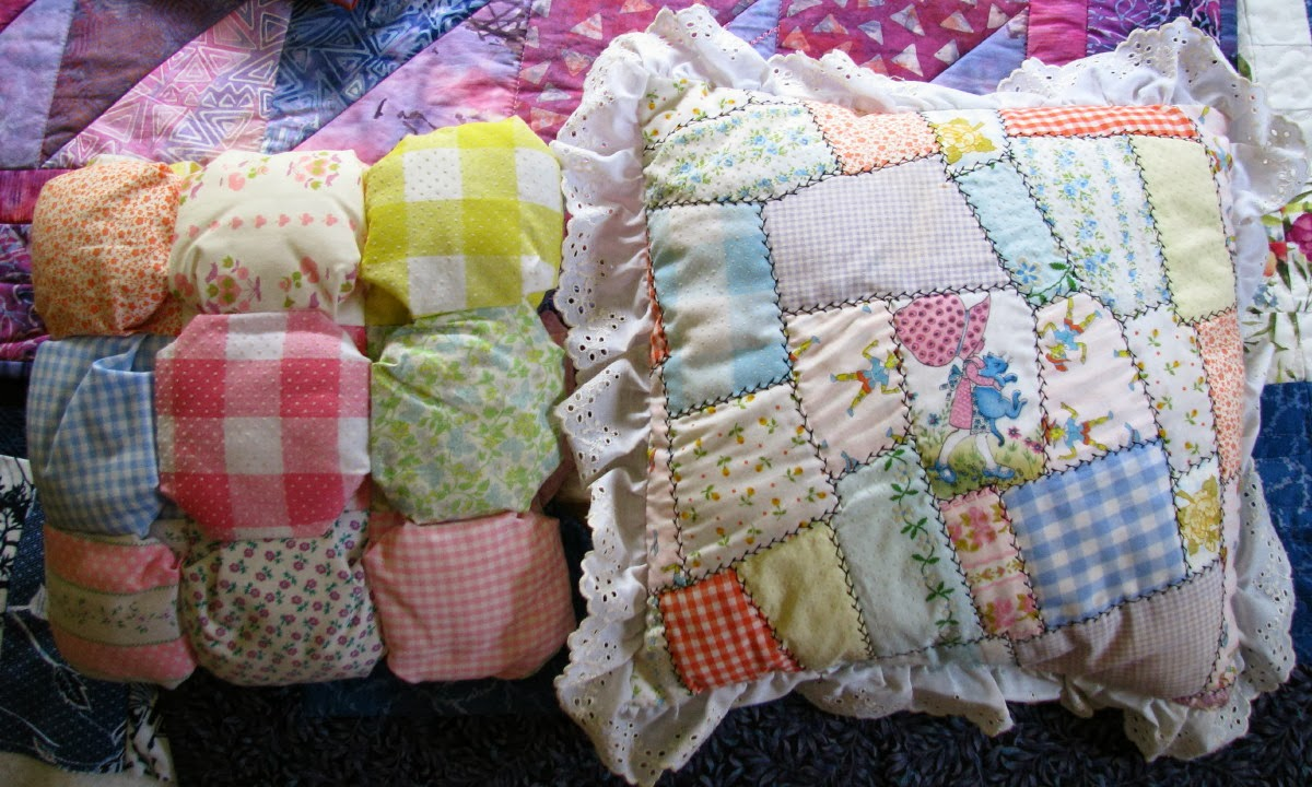 These were a couple of the pillows from my daughter's room in the 1970s. I made dozens of the Holly Hobbie pillows and sold them to an antique store in the Chicago suburbs. I also did craft shows during the 1970s and 80s.