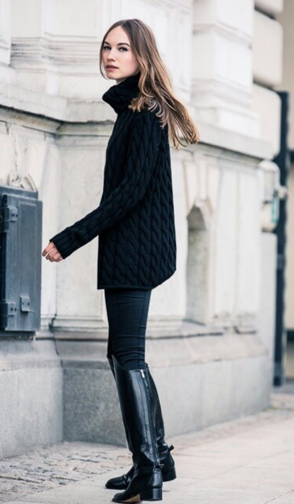 Simply add leggings or jeans to an oversized black turtleneck, and add tall boots or booties for a very European, elegant but casual look.