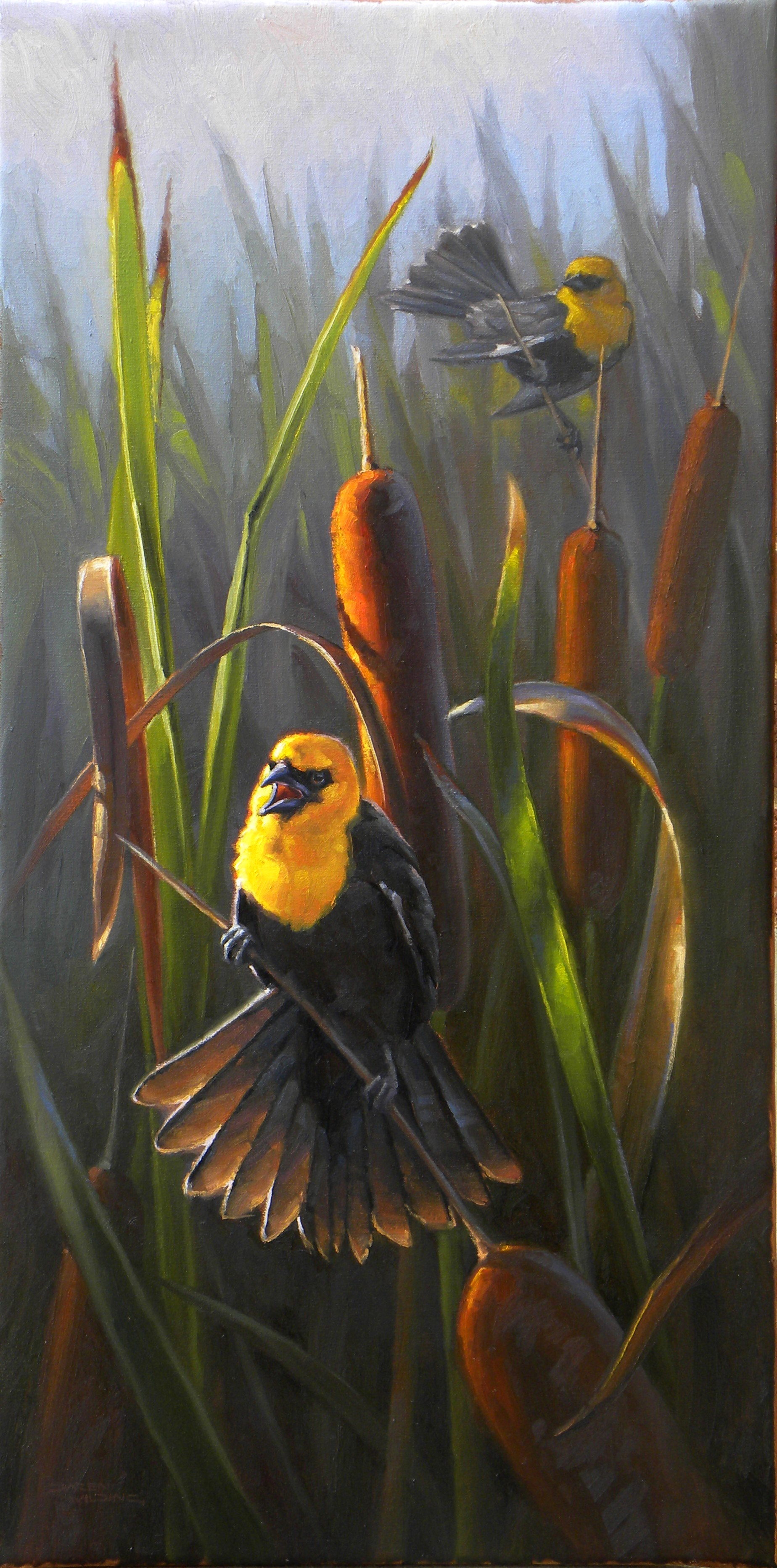 """""""Amid the Cattails"""" - 15x30"""" oil"""