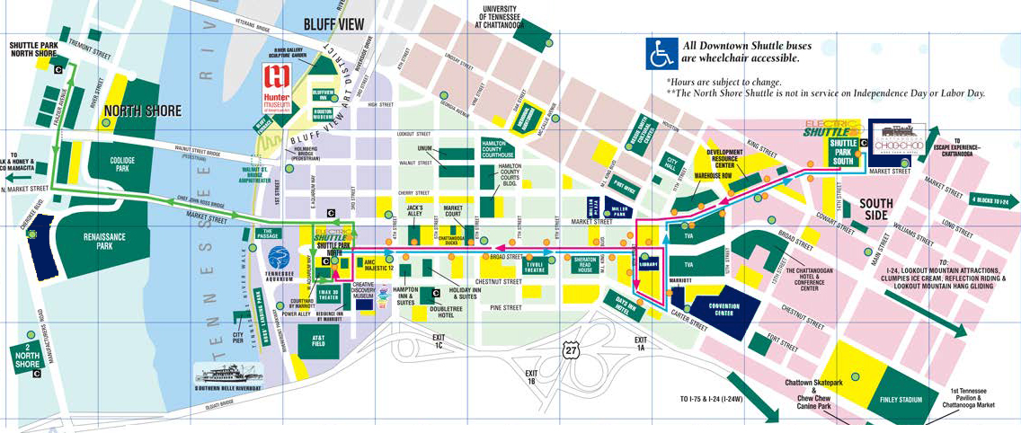 Images in dark blue indicate areas of importance to NOMCON attendees. These include the conference center, Friday and Saturday night activity sites and pre-conference tour locations. Please check back for more details.   Click here to download our detailed shuttle guide to Chattanooga.
