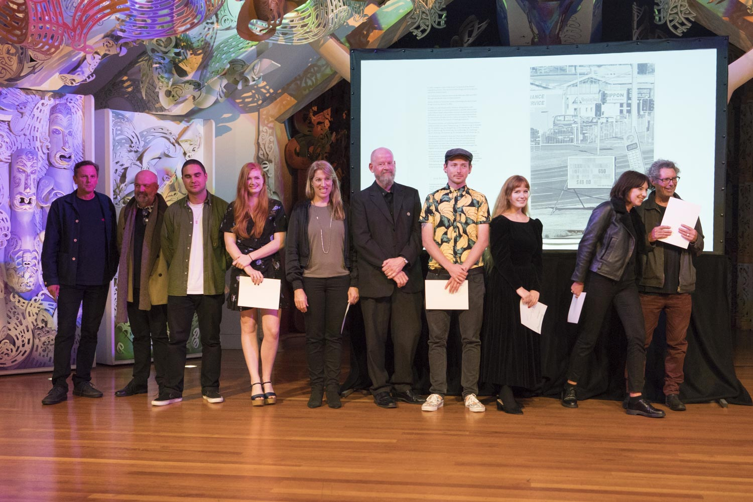 Finalists for the 2017 New Zealand Photobook Award at the opening of the Photobook/NZ Festival, Te Papa, 9 March, 2018.