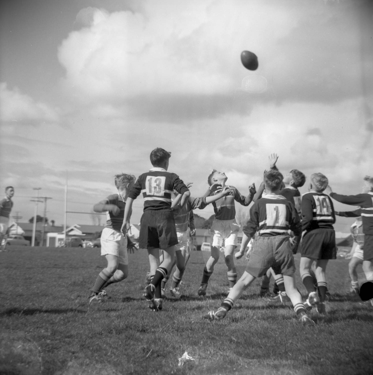 Swainson's Studios, Francis Douglas Memorial College, Rugby Game (1961). collection of Puke Ariki (WD.010679).
