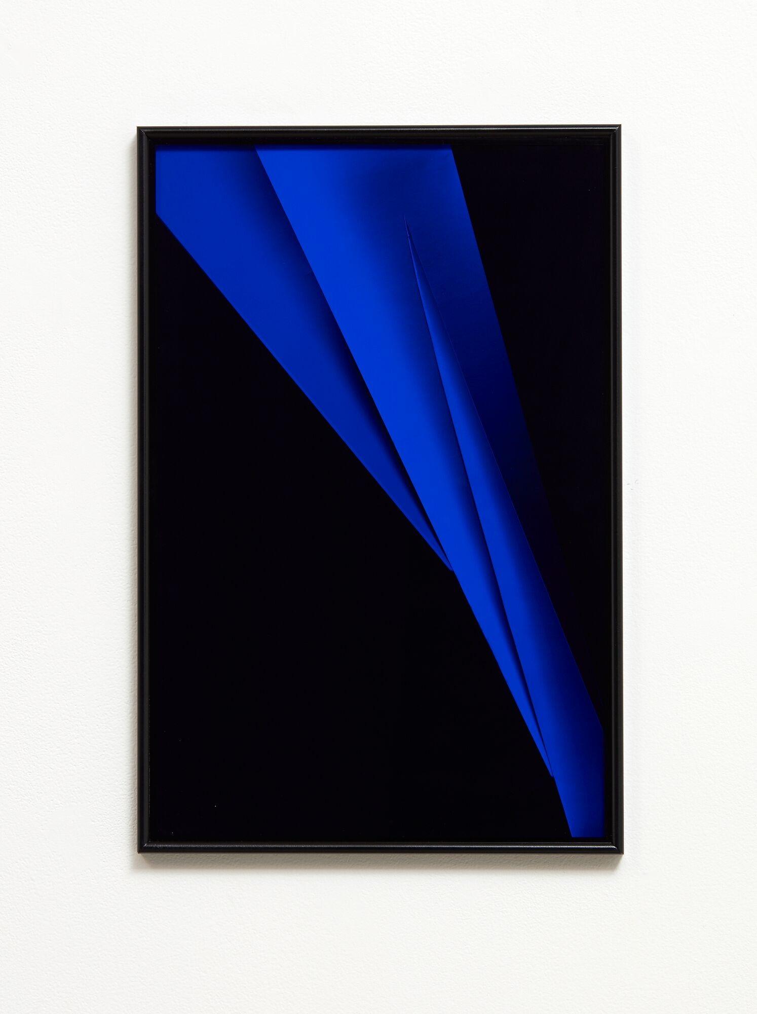 Split Focus (Blue)  2018  Acrylic, enamel, silver gelatin print, museum glass in artist frame  360mm x 600mm