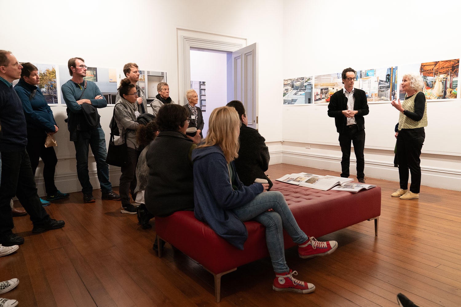 Mary Macpherson and Nicholas Butler in conversation at the exhibition 'The Long View' at Pah Homestead, 10 June 2018. Photo by Geoff Short