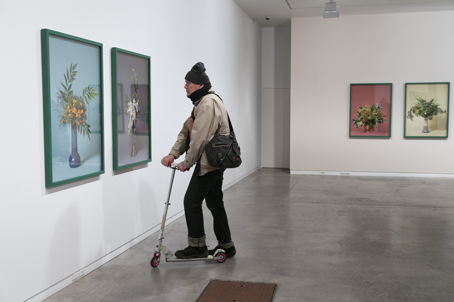 """John Miller at the opening of  'The Missionaries"""" by Ann Shelton at Two Rooms, Auckland, 01 June 2018"""