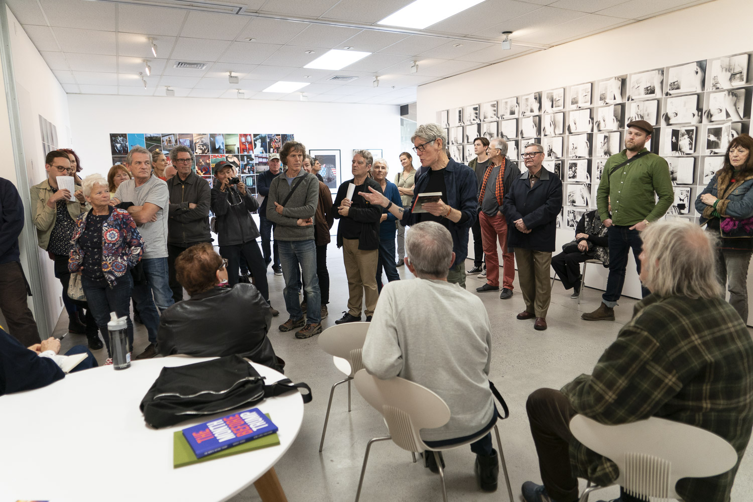 """Harvey Benge and Ron Brownson in conversation at """"Aide Memoire and other Stories"""", Northart, June 2018"""