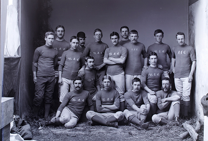 Print from a glass plate negative of the Nelson Football Club. (Nelson Provincial Museum, Tyree Studio Collection, 177867)