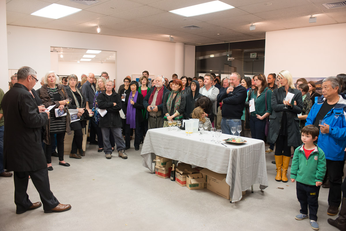 """Ron Brownson speaking at the opening of the exhibition """"Recent Auckland Photography"""" at Northart Gallery, 19 May, 2013."""