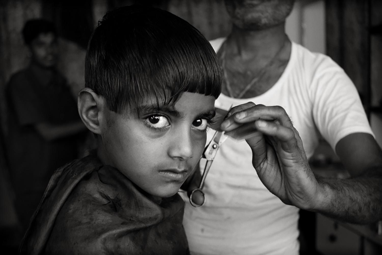 Julian Ward  Boy at Barbers, Mewar, Rajasthan, India  2010