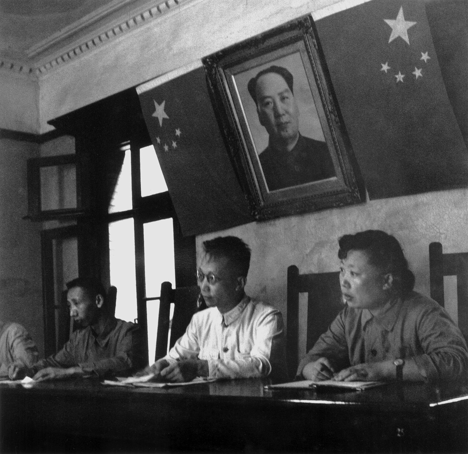 The judge's bench of a Shanghai courtroom considering a case about the disputed sale of a house. China, September 1956.  (RDH R39-09)
