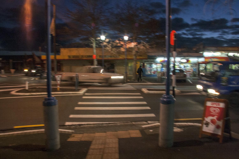 Te Atatu Road crossing at night, 17 June 2010. (JBT©20100617-06