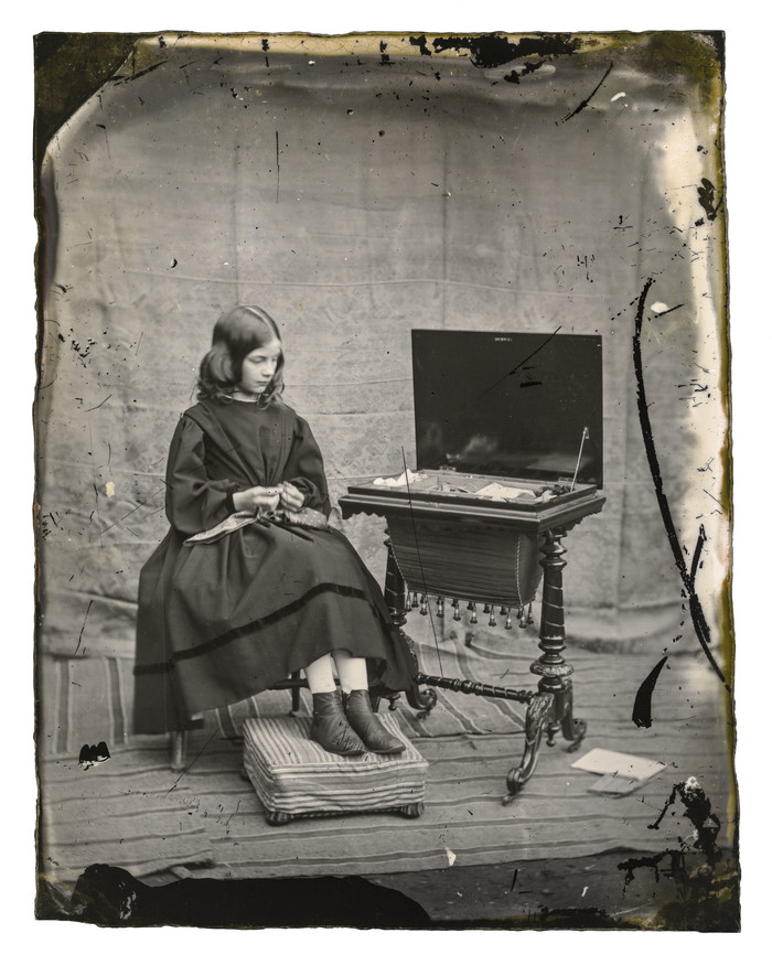 Alfred C. Barker  Sarah Elizabeth (Lizzy) Barker  c.1861. Glass plate collodion negative. Collection of Canterbury Museum (1944.78.255)