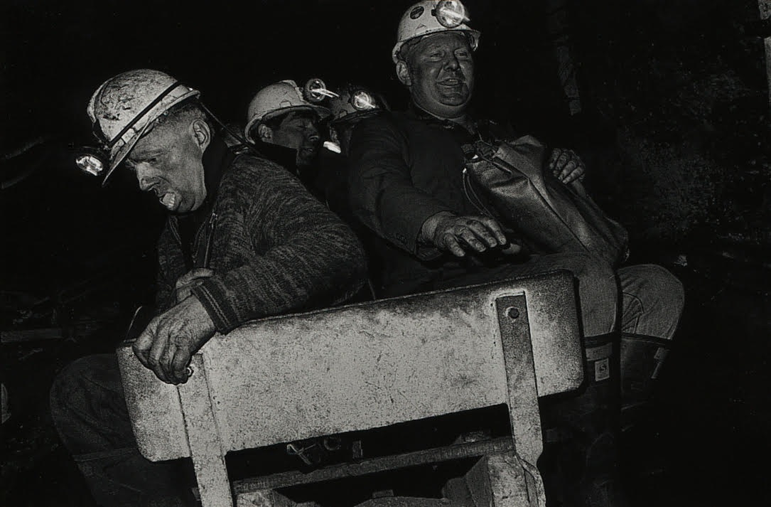 Bruce Connew , Jimmy 'Grub' Duggan & Brucie Brown, east heading haulage, Strongman Mine, 9 Mile, Westland, New Zealand , 1986.