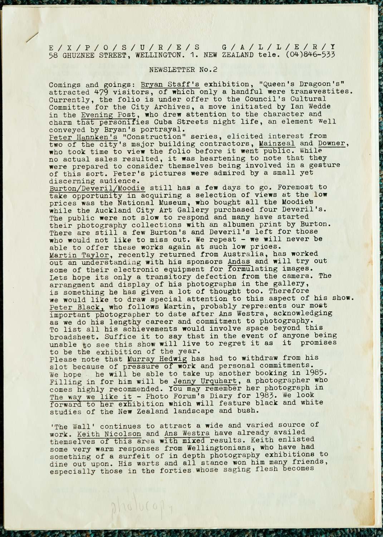 Exposures  Gallery Newsletter No.2, 4 July 1984