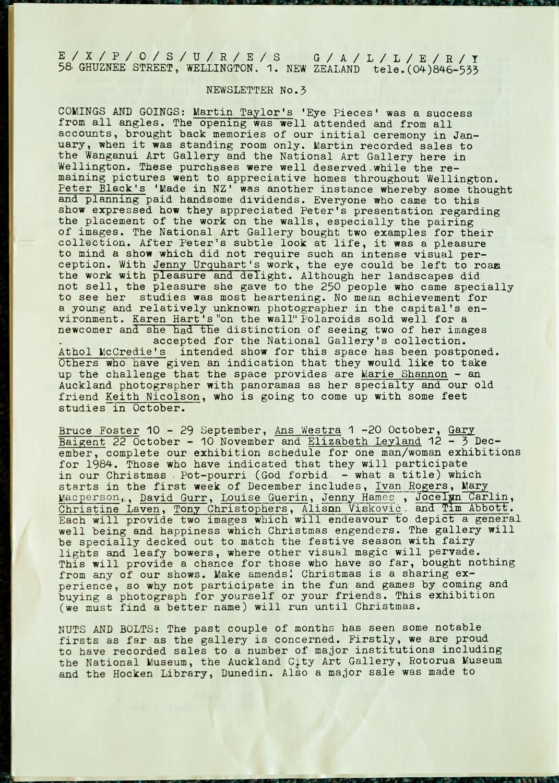 Exposures  Gallery Newsletter No.3, 5 September 1984