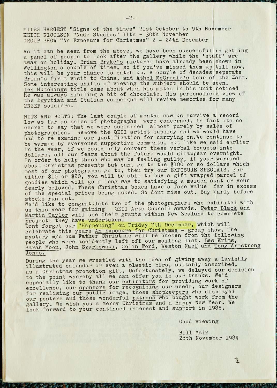 Exposures  Gallery Newsletter No.4, 28 November 1984