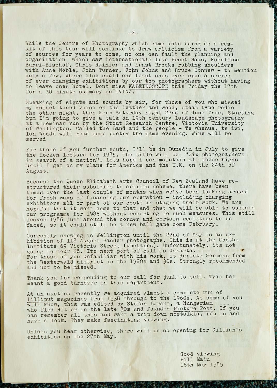 Exposures  Gallery Newsletter No.6, 16 May 1985