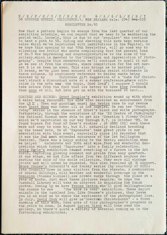 Exposures Gallery Newsletter No.10, May1986