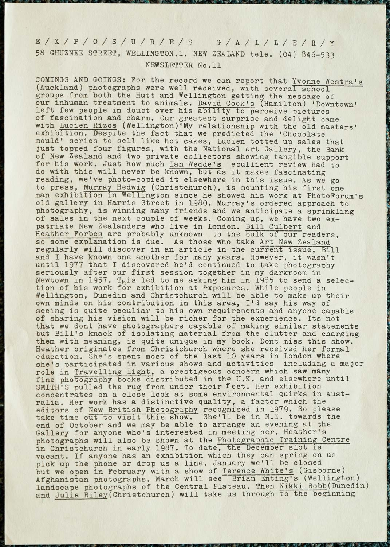 Exposures Gallery Newsletter No.11, September 1986
