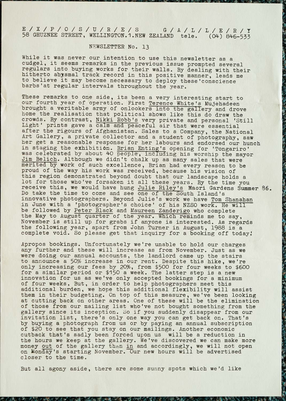 Exposures Gallery Newsletter No.13, April 1987