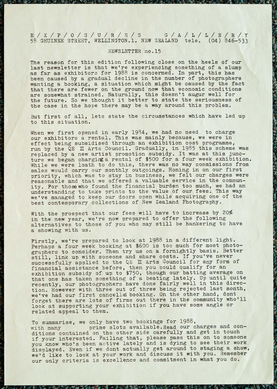 Exposures Gallery Newsletter No.15, 26 August 1987