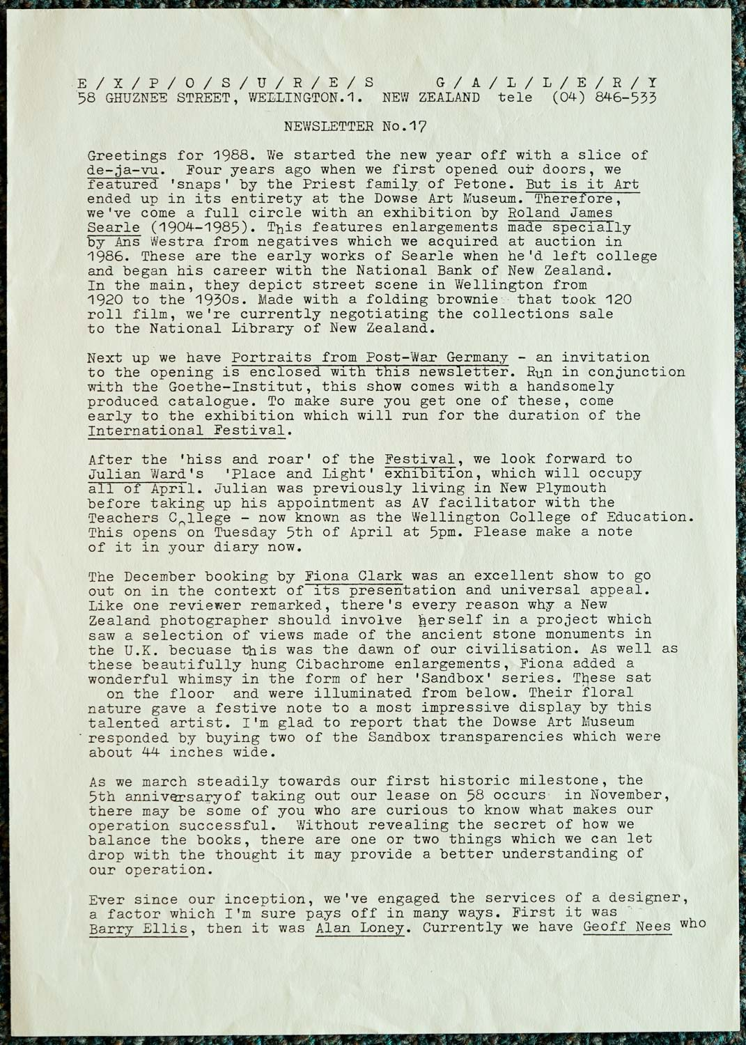 Exposures Gallery Newsletter No.17, February 1988