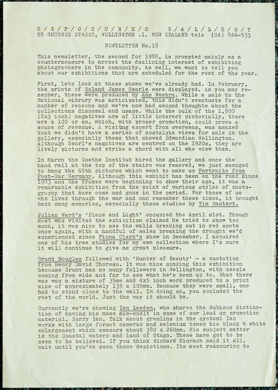 Exposures Gallery Newsletter No.18, June 1988