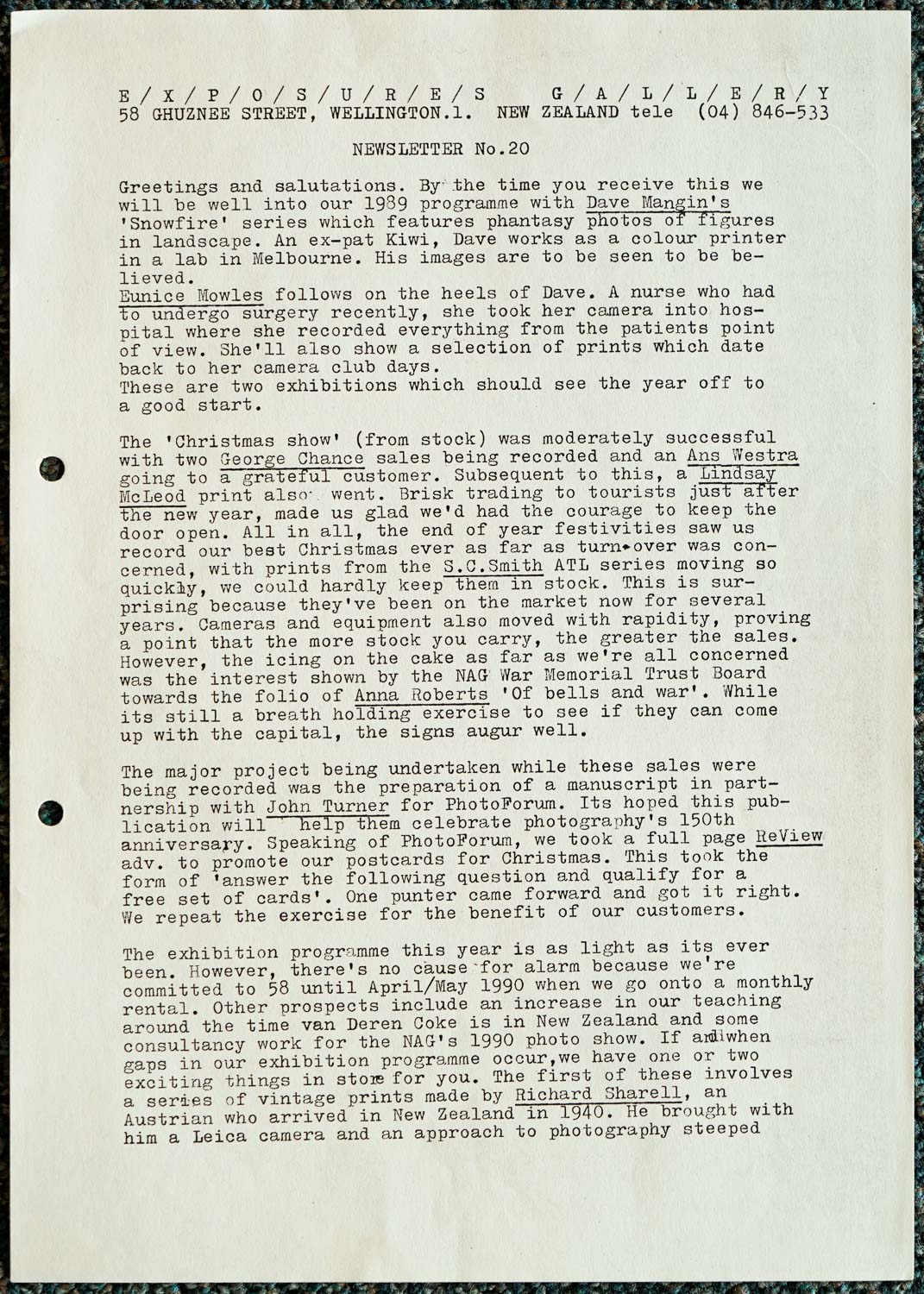 Exposures Gallery Newsletter No.20, February 1989