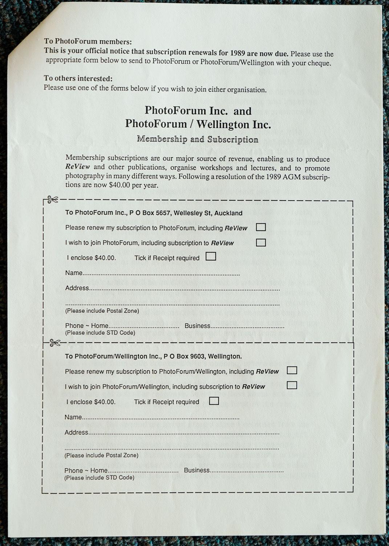 Exposures Gallery Newsletter No.22, August 1989