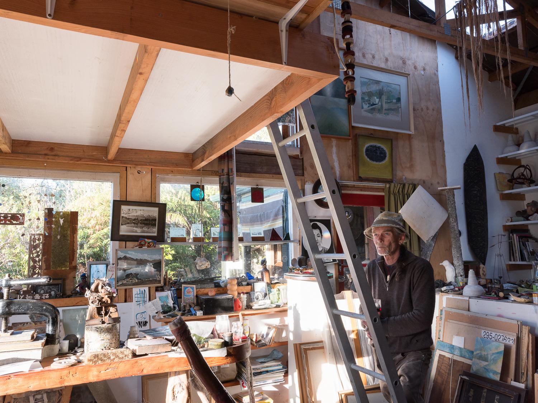 Julia Johnston.  Grae in his studio , Tiropahi, from   Coast Roaders