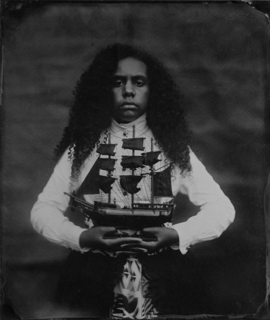 Jasmine Togo-Brisby   Inheritance , 2019. Collodion on glass, 258 x 305mm
