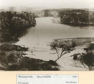 John Kinder:  Bay of Islands, Waitangi Falls , 1864
